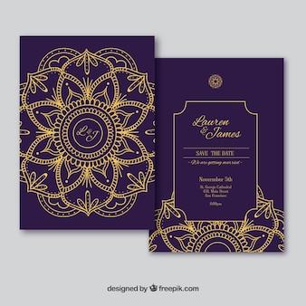 ゴールデンマンダラとエレガントな結婚式のカード