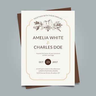 手描きの要素を持つ優雅な結婚式のカード
