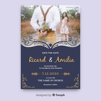 Elegant wedding card with photo