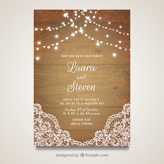 elegant wedding card with wooden design