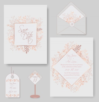 Elegant wedding cards consist of various kinds of flowers.