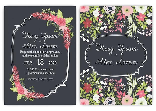 Элегантные свадебные открытки состоят из разных видов цветов.