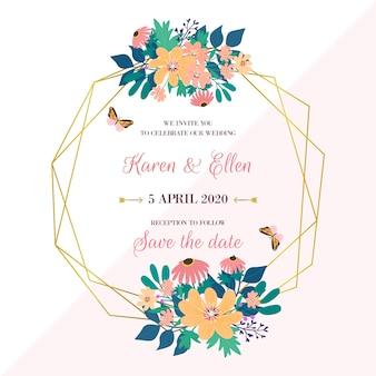 Elegant wedding floral frame concept