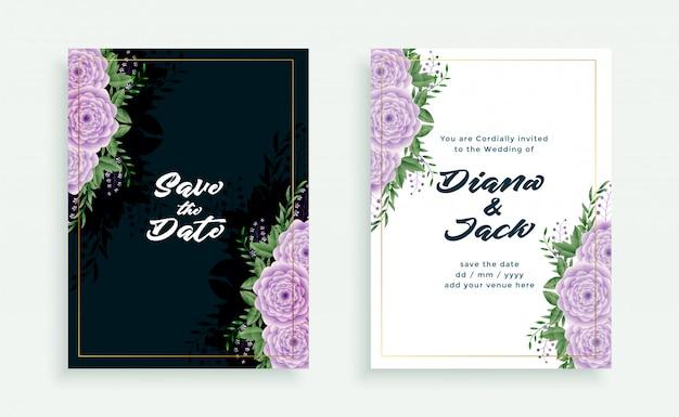エレガントな結婚式の花の招待カードテンプレート