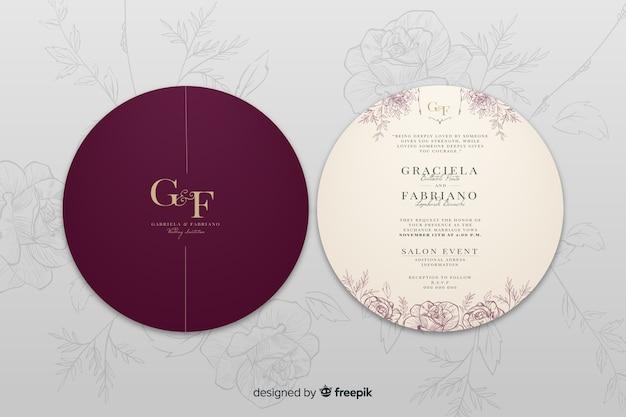 Элегантное свадебное приглашение сзади и спереди