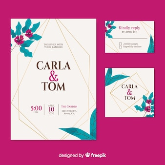 Elegant wedding invitation on burgundy background