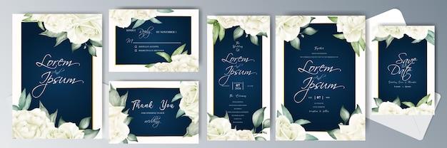 우아한 결혼식 초대 카드 번들 템플릿
