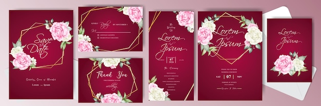 Elegant wedding invitation card bundle template