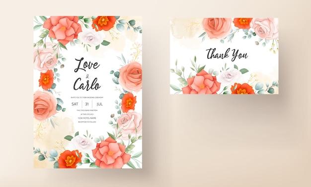 Элегантный свадебный пригласительный билет, украшенный красивыми оранжевыми цветами