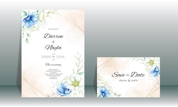 아름다운 꽃 장식으로 우아한 결혼식 초대 카드 디자인
