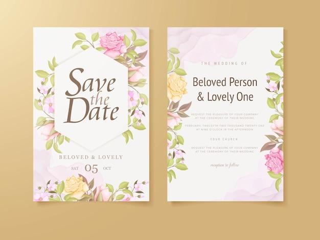 우아한 결혼식 초대 카드 꽃 컨셉 템플릿 디자인