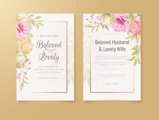 우아한 결혼식 초대 카드 꽃 컨셉 템플릿