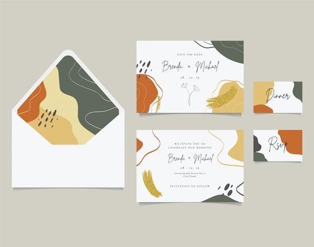 Elegant wedding invitation card golden glitter brush