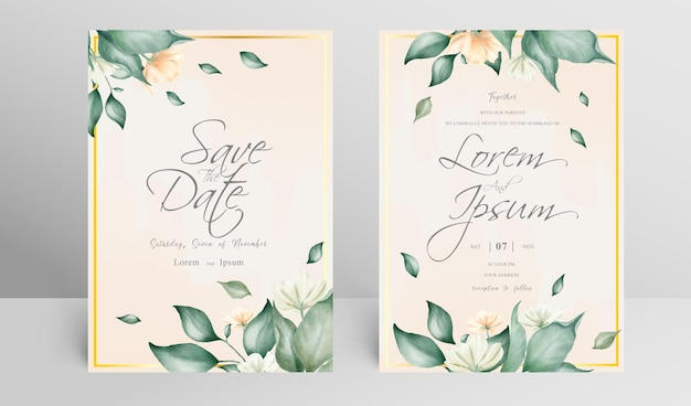 Elegant wedding invitation card set template with arrangement floral and watercolor
