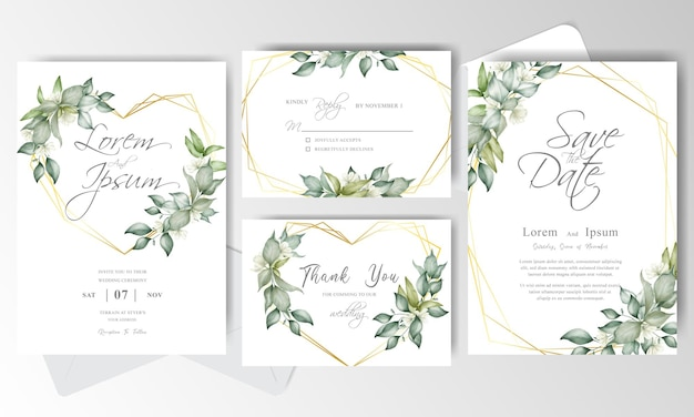 Elegant wedding invitation card set template with arrangement floral