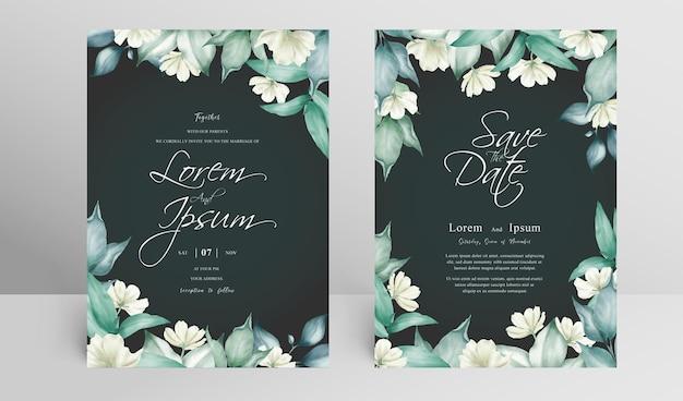 花のアレンジメントとエレガントな結婚式の招待カードセットテンプレート