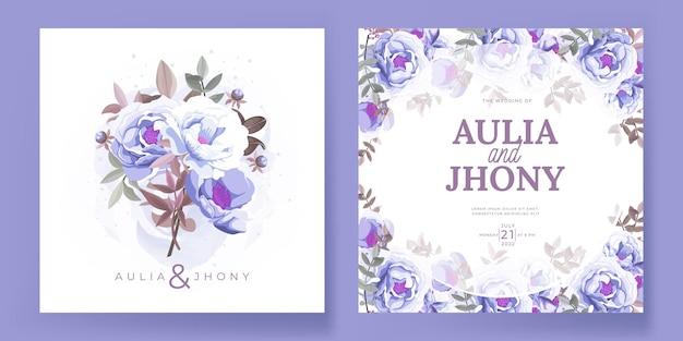 美しい花と葉を持つエレガントな結婚式の招待カードセットテンプレート