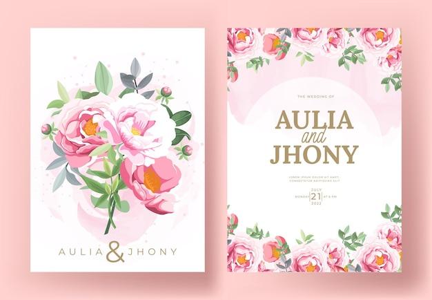 Modello di set di carte di invito matrimonio elegante con bellissimi fiori e foglie