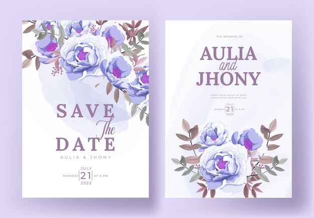 Elegant wedding invitation card set template with beautiful floral and leaves