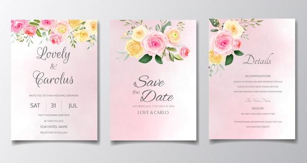 エレガントな結婚式の招待カードセットテンプレートカラフルな花と緑の葉