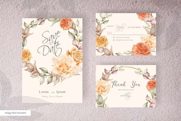 花と葉のエレガントな結婚式の招待カードセットテンプレート。ヴィンテージの素朴なアレンジ