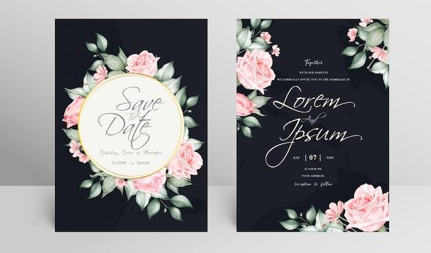 우아한 결혼식 초대 카드 세트 템플릿