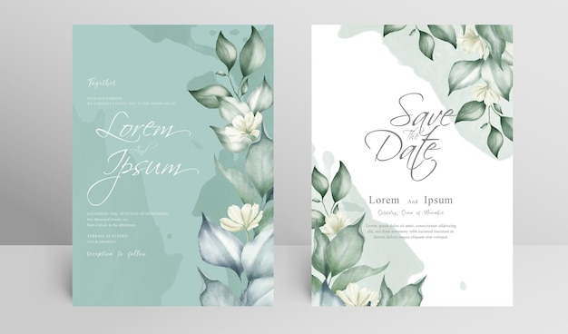 Elegant wedding invitation card set template