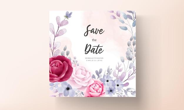 エレガントな結婚式の招待カードセット水彩花と葉
