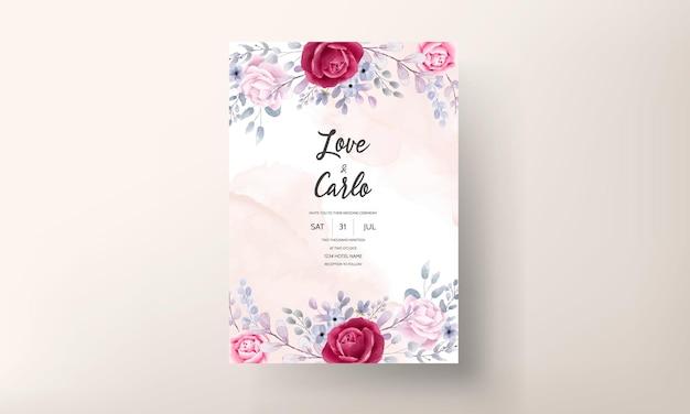 Elegant wedding invitation card set watercolor flower and leaves