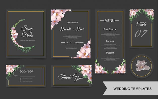 Elegant wedding invitation card set with beautiful flowers