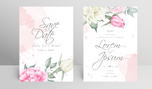Elegant wedding invitation card set with floral and watercolor splash