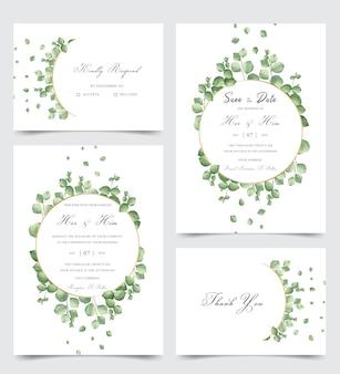 Elegant wedding invitation card set with greenery watercolor leaves