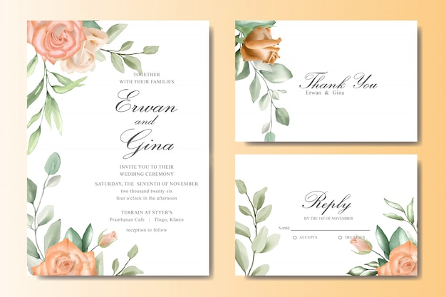 Elegant wedding invitation card set with watercolor floral and leaves