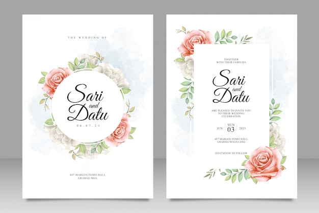 Elegant wedding invitation card set with watercolor floral