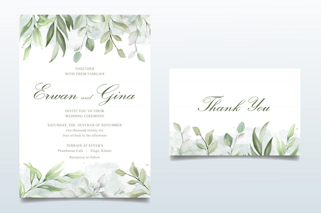 Elegant wedding invitation card set with watercolor leaves