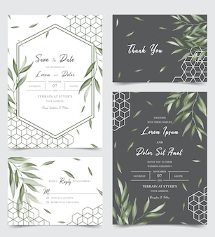 Elegant wedding invitation card set with watercolor leaves