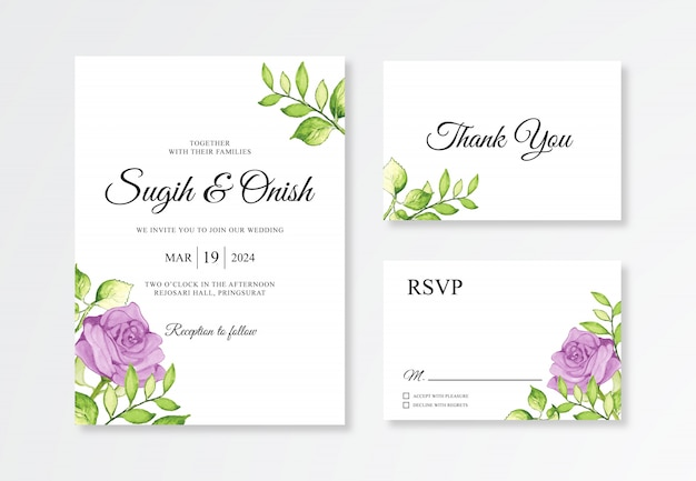 우아한 결혼식 초대 카드 세트