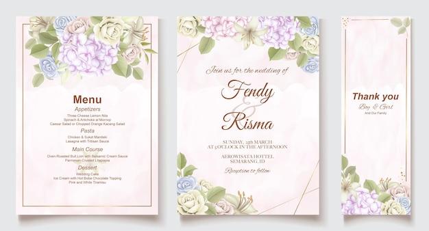 우아한 결혼식 초대 카드 템플릿 및 메뉴