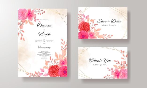 バーガンディの花とエレガントな結婚式の招待カードのテンプレートデザイン