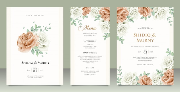 Elegant wedding invitation card template design with peonies