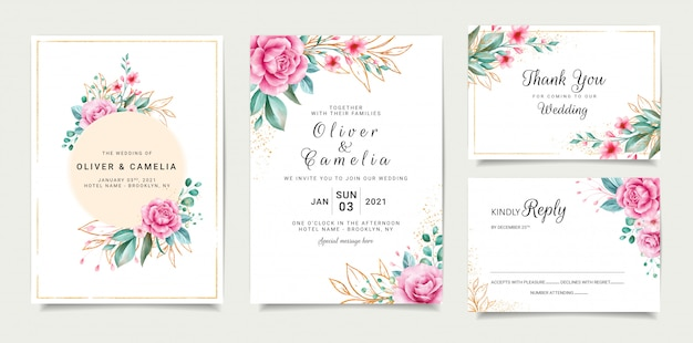 Elegant wedding invitation card template design with roses and outlined glitter leaves