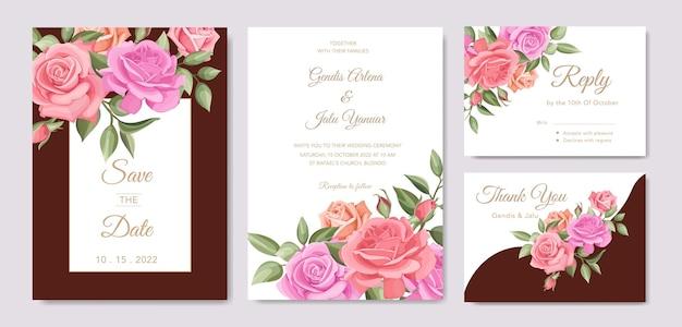 バラとエレガントな結婚式の招待カードのテンプレートデザイン