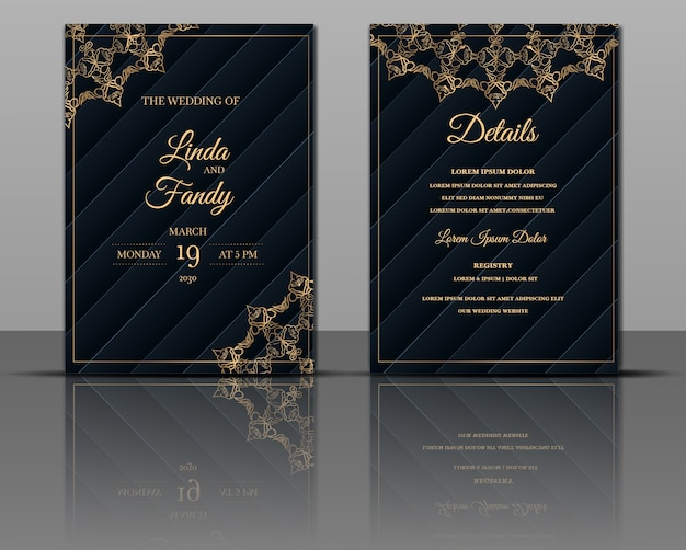 Elegant wedding invitation card template design