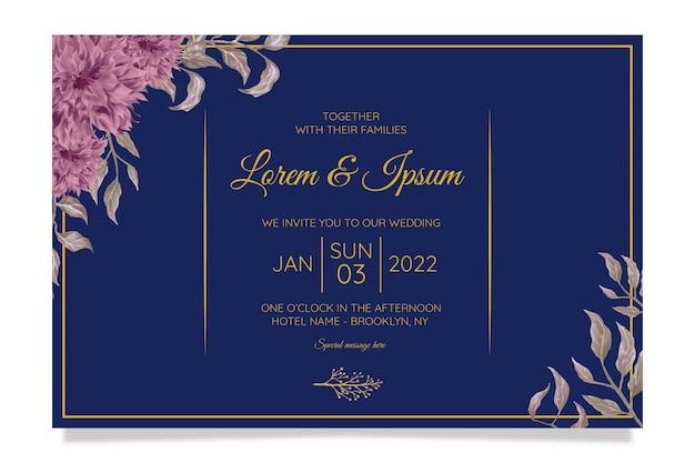 우아한 결혼식 초대 카드 템플릿 세트와 수채화 꽃 장식