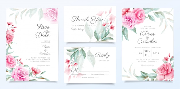 Elegant wedding invitation card template set of beautiful flowers decoration