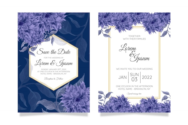 Elegant wedding invitation card template set  and watercolor flowers decor