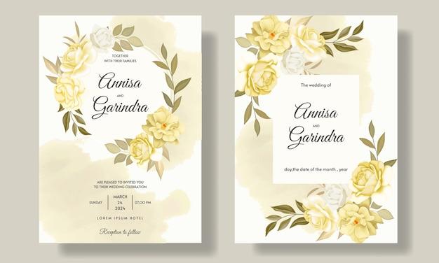 우아한 결혼식 초대 카드 템플릿 아름다운 꽃과 잎으로 설정