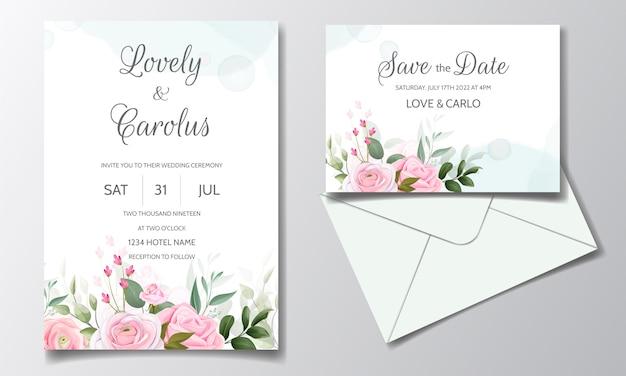 美しいピンクのバラと緑の葉で設定されたエレガントな結婚式の招待カードテンプレート