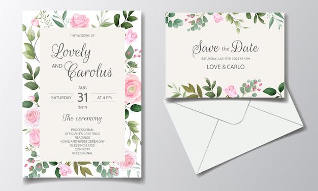 Элегантный шаблон свадебного приглашения с красивыми розовыми розами и зелеными листьями
