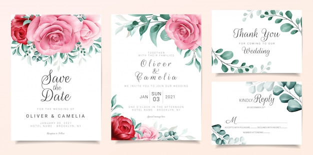 Elegant wedding invitation card template set with burgundy and peach watercolor flowers decor